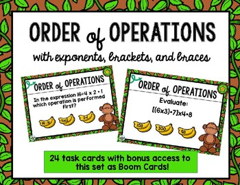 Order of Operations (with Exponents, Brackets,and Braces) plus BONUS Boom Cards