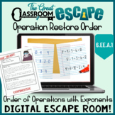 Order of Operations with Exponents Digital Escape Room 6th Grade Math Standards