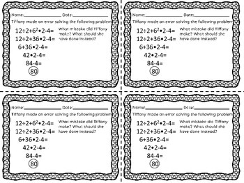 Order of Operations with Exponents Exit Tickets