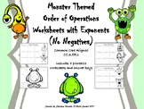 Order of Operations with Exponents (No Negatives) Monster Themed Printables
