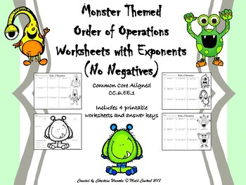 Order of Operations with Exponents (No Negatives) Monster