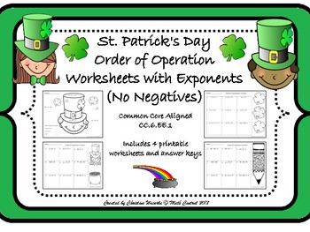 Order of Operations with Exponents (No Negatives) St. Patrick's Day Printables