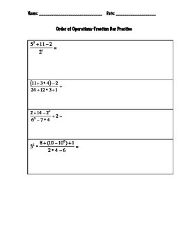 Order of Operations with Fraction Bar