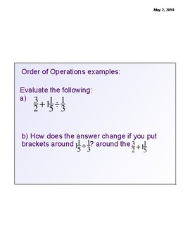 Order of Operations with Fractions 1