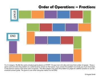 Order of Operations with Fractions Game Board - 5th Grade Common Core Math