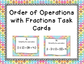 Order of Operations with Fractions Task Cards