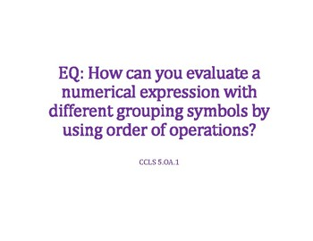 Order of Operations with Grouping Symbols PowerPoint