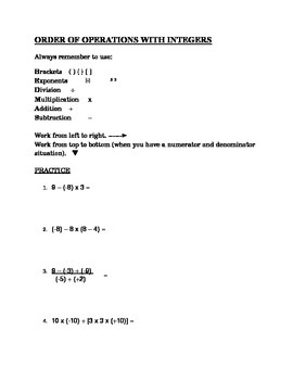 Order of Operations with Integers
