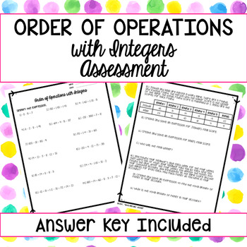 Order of Operations with Integers Assessment
