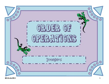 Order of Operations with Integers Coloring Picture - Lizard