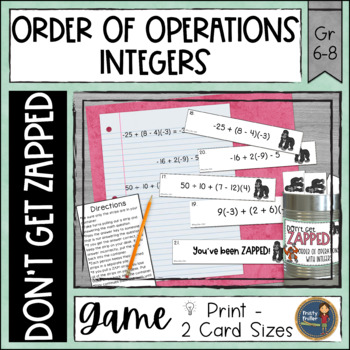 Order of Operations with Integers Don't Get ZAPPED Math Game