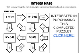 Order of Operations with Integers Maze