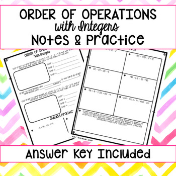 Order of Operations with Integers Notes & Guided Practice