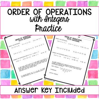 Order of Operations with Integers Practice