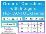 Order of Operations with Integers TIC-TAC-TOE Games