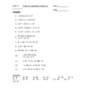 Order of Operations with Integers Worksheet #1
