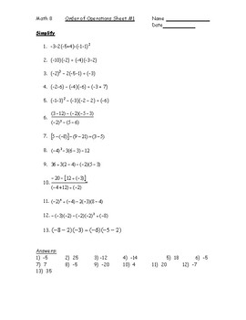 Order Of Operations With Integers Worksheet 1 Pdf