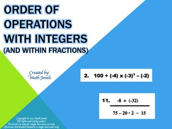 Order of Operations with Integers (and within Fractions)
