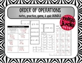Order of Operations with Integers [notes, practice, quiz & game]
