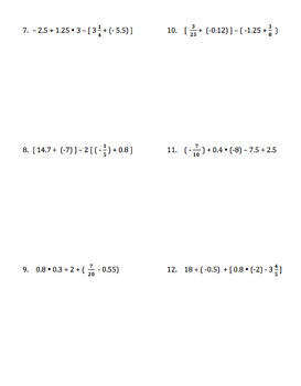 Order of Operations with Mixed Rational Numbers (Includes Negatives)