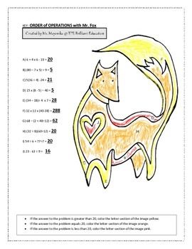 Order of Operations with Mr. Fox Worksheet