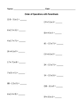 Order of Operations with Parenthesis