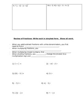 Order of Operations with Positive and Negative Numbers Handout