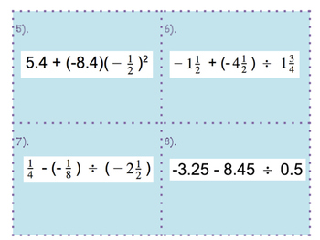 Order of Operations with Rational Numbers Task Cards