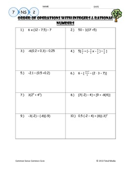 Worksheets Operations With Rational Numbers Worksheet order of operations with ra by april langelett teachers pay rational numbers worksheet