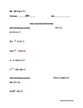 Order of Operations with Variables