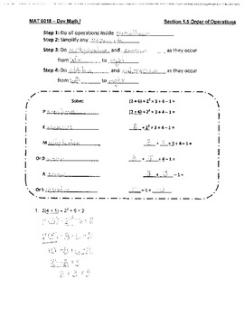 Order of Operations with Whole Numbers