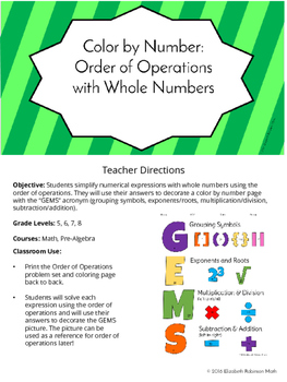 Order of Operations with Whole Numbers: Color by Number
