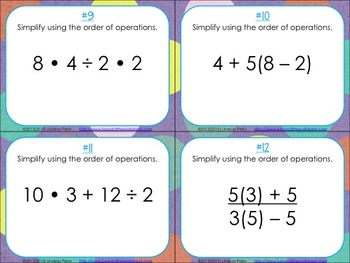 Order of Operations with Whole Numbers Task Cards