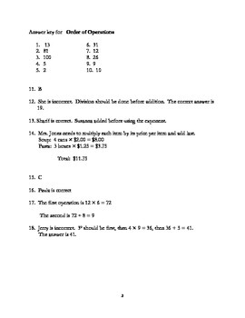 Order of Operations with common core
