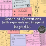 Order of Operations with exponents and integers BUNDLE
