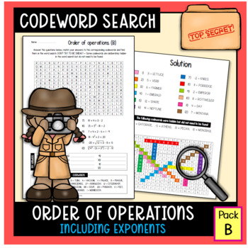 Order of Operations Word Search Worksheet #1