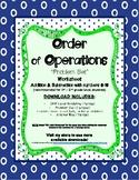 Order of Operations Problem Set Worksheet Addition & Subtraction Numbers 0-10