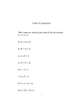 Order of operations  2