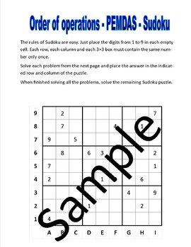 Order of operations - PEMDAS - Sudoku puzzle