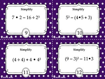 Order of operations foldable/wheel book with 16 task cards