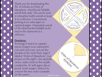 Order of operations foldable/wheel book