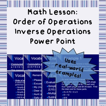 Order of operations & inverse operations: Power Point lesson