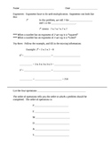 Order of operations notes and practice worksheet