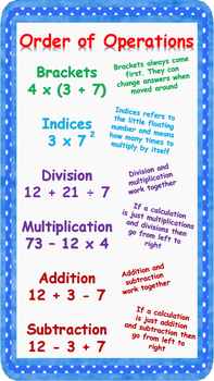 Order of operations poster (BIDMAS) Brackets, Indices, Division etc.