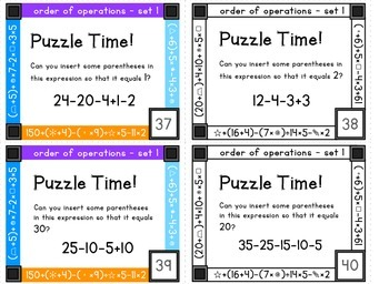 Order of operations task cards - set 1 - addition, subtraction and parentheses