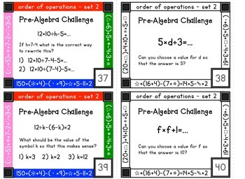 Order of operations task cards - set 2 - multiplication, division, parentheses