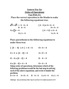 Order of operations with only the number 4