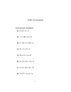 Order of operations worksheet no 4 (with solutions)