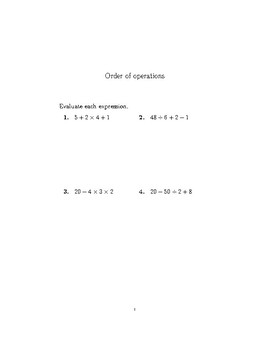 Order of operations worksheet (with detailed solutions)