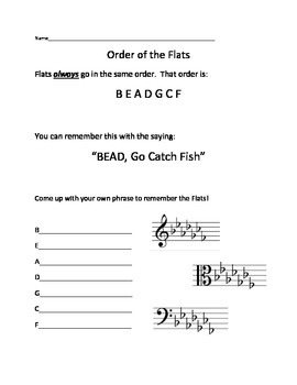 Order of the Flats Worksheet